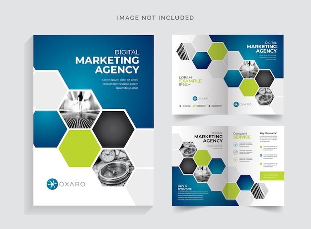 Brochure bifold professionale con accento blu