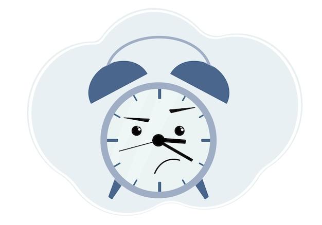 Illustrazione di sveglia blu con emozione di rabbia e dispiacere