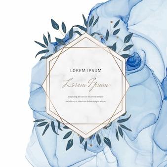 Insegna blu dell'inchiostro dell'alcool con le strutture e le foglie di marmo geometriche. Vettore Premium