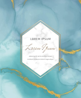 Carta acquerello inchiostro blu alcool con cornice geometrica in marmo Vettore Premium