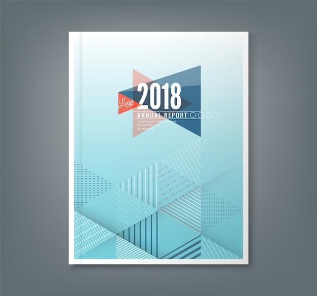 Progettazione di report annuale blu con sfondo modello triangolo