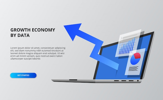 Crescita dell'economia della freccia blu. dati finanziari e infografici Vettore Premium