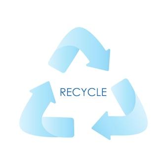 Le frecce blu riciclano il simbolo di eco. gradiente blu. segno riciclato. icona del ciclo riciclato. simbolo di materiali riciclati. illustrazione di disegno vettoriale piatto isolato su sfondo bianco