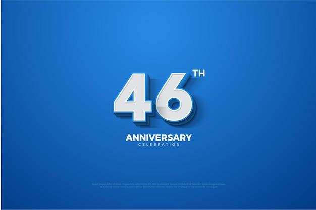 Sfondo blu 46 ° anniversario celebrazione simbolo con numeri semplici