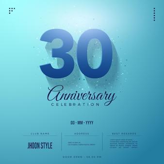 Edizione con sfondo blu per l'invito alla celebrazione del 30 ° anniversario