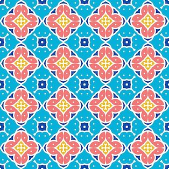 Sfondo blu di motivi ornamentali e decorativi etnici