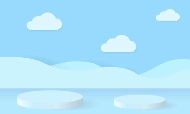 Rendering di sfondo blu con podio e scena blu minima