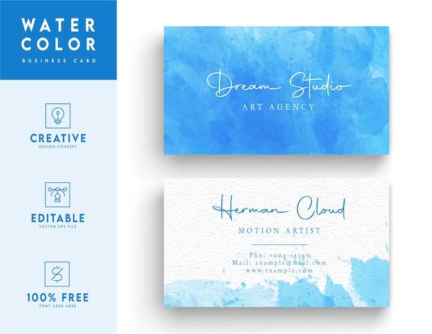 Modello di biglietto da visita dell'acquerello di sfondo blu