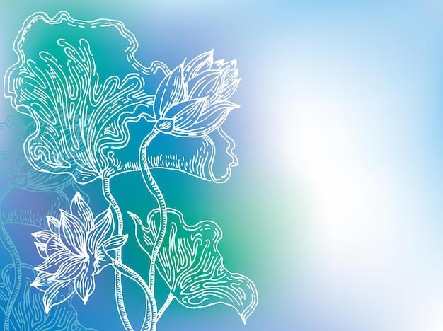 Sfondo blu con fiori di giglio