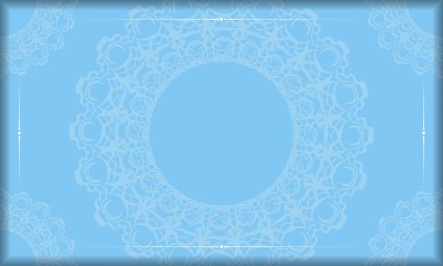 Sfondo blu con un lussuoso motivo bianco per il design sotto il testo