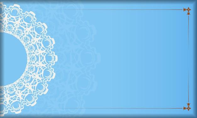 Sfondo blu con lussuoso motivo bianco e spazio per il testo