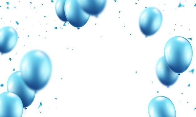 Palloncini festivi sfondo blu celebrazione palloncini illustrazione in formato vettoriale