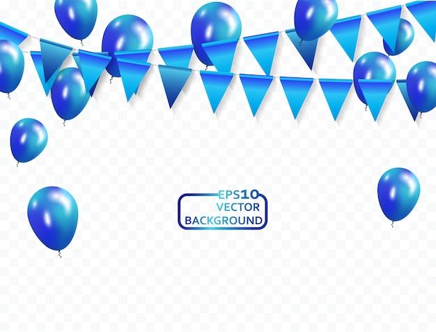 Palloncini blu coriandoli e nastri celebrazione sfondo