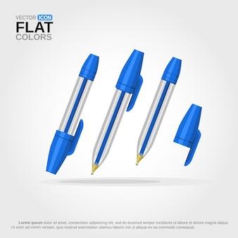 Penna a sfera blu con coperchio acceso e spento fumetto isolato
