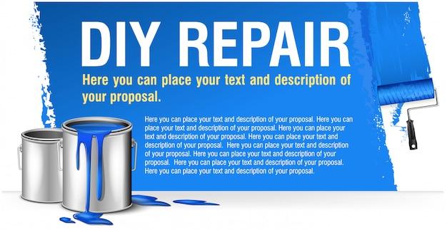 Bandiera blu per la pubblicità di riparazione fai da te con banco di vernice.