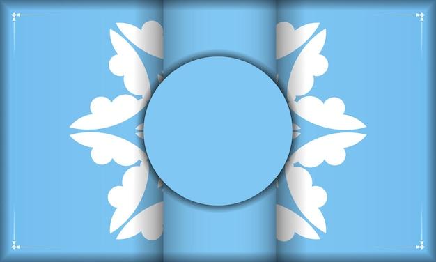 Modello di banner blu con motivo bianco astratto e posto sotto il testo