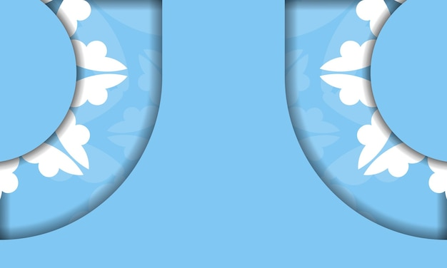 Modello di banner blu con lussuose decorazioni bianche e spazio per il testo
