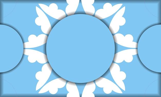 Modello di banner blu con lussuoso motivo bianco per il design sotto il testo