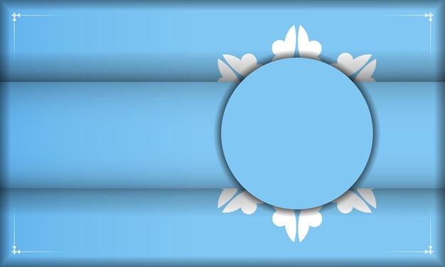 Modello di banner blu con lussuoso motivo bianco e posto sotto il testo