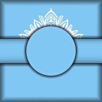 Modello di banner blu con ornamento bianco mandala e posto per il tuo logo