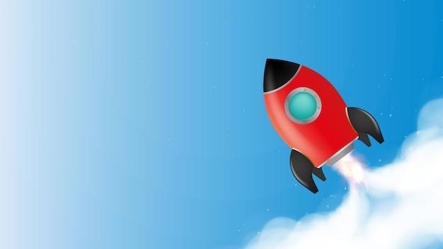 Bandiera blu sul tema della motivazione. il razzo rosso sta decollando. posizionalo sotto il testo. il concetto di crescita della carriera, sviluppo e motivazione.