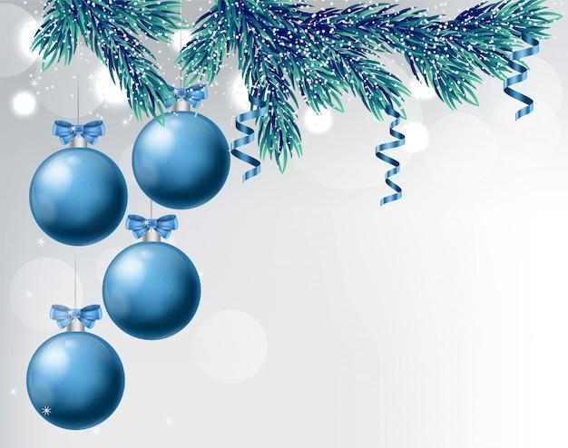 Bagattelle blu con disegni di ornamenti di natale