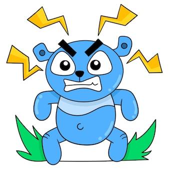 L'orso blu con una faccia arrabbiata soffocata emetteva elettricità, illustrazione vettoriale. scarabocchiare icona immagine kawaii.