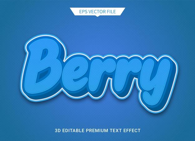 Vettore premium di effetto stile testo modificabile 3d bacca blu