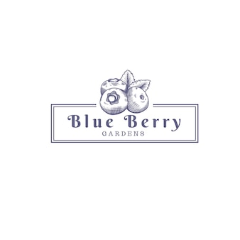 Logo del negozio della fattoria di frutti di bosco blu