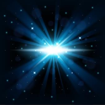 Il big bang blu splende dallo sfondo dell'oscurità