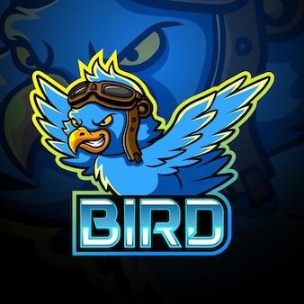 Disegno del logo esport mascotte uccello blu