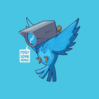 Uccello blu con illustrazione della testa della telecamera