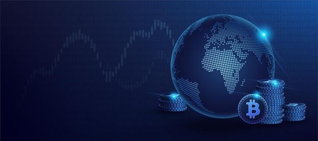 Valuta digitale bitcoin blu e ologramma del globo del mondo