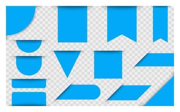 Cartellini dei prezzi, etichette o distintivi vuoti blu. striscioni a nastro per pubblicità. bandiere di vettore. illustrazione vettoriale