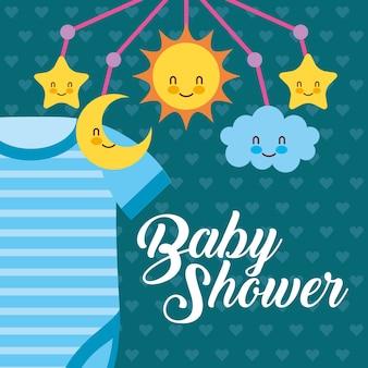 Carta blu per baby shower con body e culla