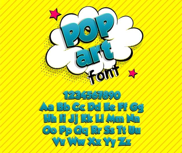 Blu grassetto fumetti pop art supereroe collezione di caratteri alfabeto