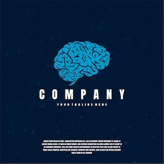 Logo del cervello blu premium