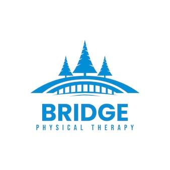 Illustrazione vettoriale di ponte blu e logo di pino