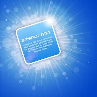 Sfondo luminoso blu con modello di testo