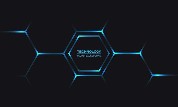 L'energia luminosa blu lampeggia sotto l'esagono in uno sfondo tecnologico futuristico