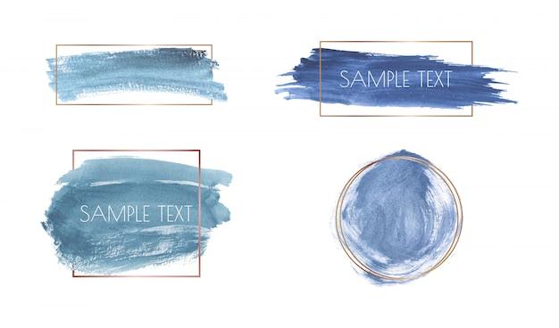 Struttura dell'acquerello tratto di pennello blu con cornici poligonali oro.