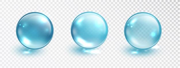Insieme della bolla blu isolato su sfondo trasparente. modello di bolla d'acqua o palla di vetro. illustrazione vettoriale di macro realistica.