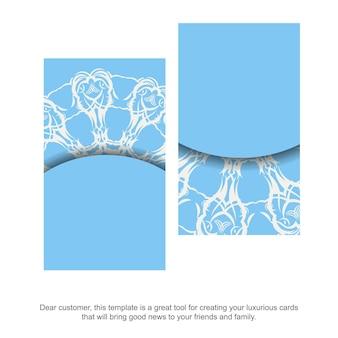 Biglietto da visita blu con un lussuoso motivo bianco per il tuo marchio.