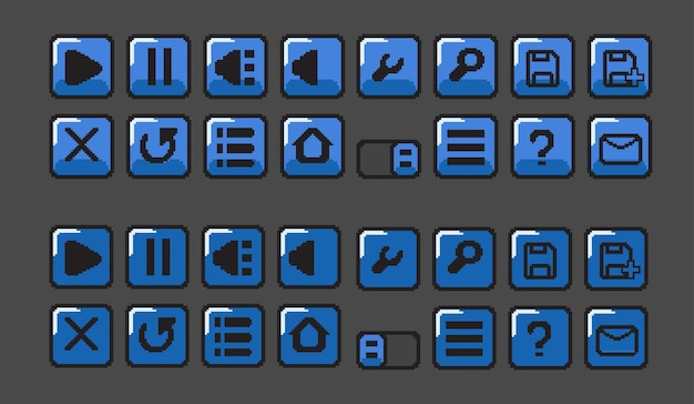 Pulsante blu con stile pixel art