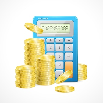 Di calcolatrice blu e pile di monete d'oro. il concetto di gestione efficace del budget finanziario
