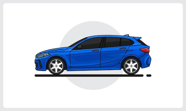 Vista laterale dell'auto moderna dell'auto blu facilmente modificabile