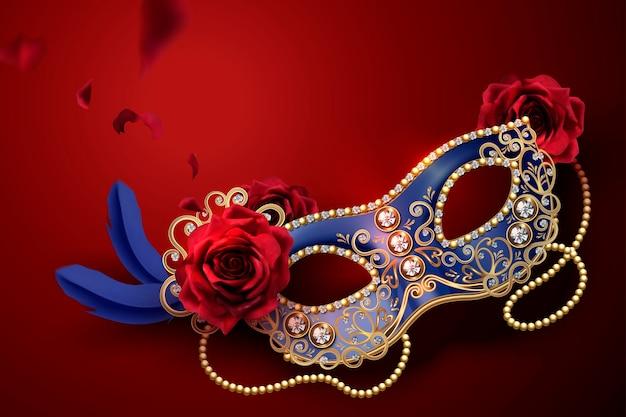 Maschera di carnevale blu con diamanti e rose in stile 3d sul rosso