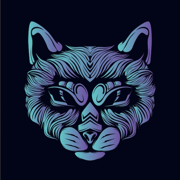 Illustrazione della testa del gatto blu