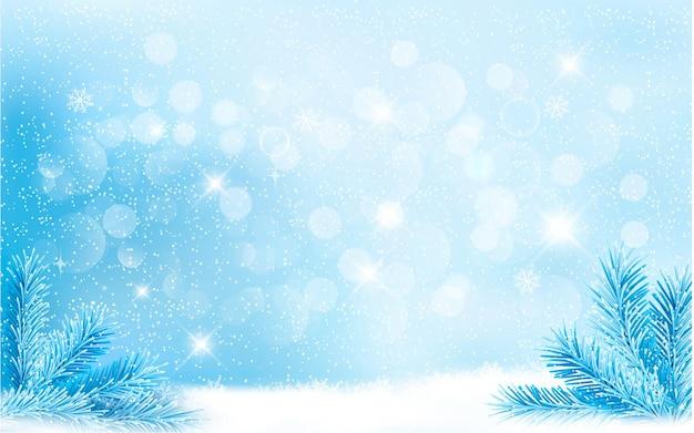 Sfondo di natale blu con rami di albero e fiocchi di neve. .