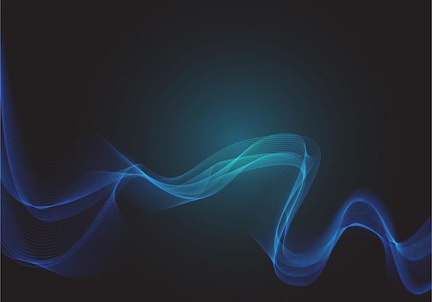 Cerchio blu dot mesh onda fumo tecnologia luce nera.